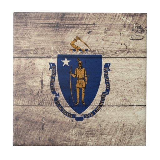 Old Wooden Massachusetts Flag; Small Square Tile