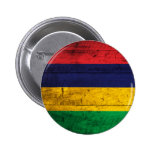 Old Wooden Mauritius Flag 2 Inch Round Button