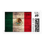 Old Wooden Mexico Flag Stamp
