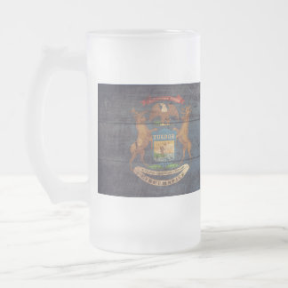 Old Wooden Michigan Flag; 16 Oz Frosted Glass Beer Mug