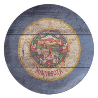 Old Wooden Minnesota Flag; Melamine Plate