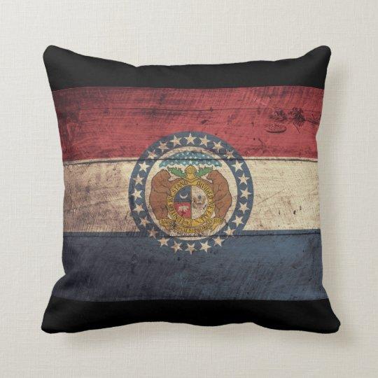 Old Wooden Missouri Flag; Throw Pillow