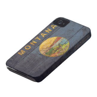 Old Wooden Montana Flag; iPhone 4 Case-Mate Case