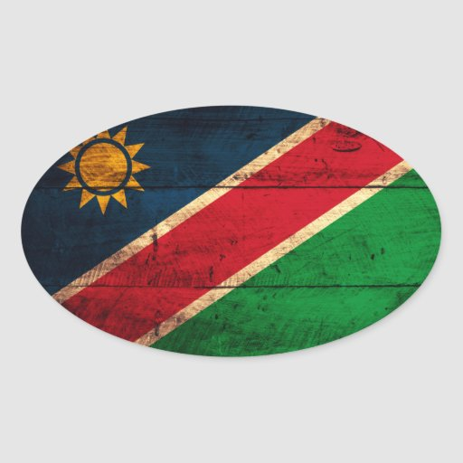Old Wooden Namibia Flag Oval Sticker