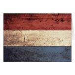 Old Wooden Netherlands Flag Greeting Cards