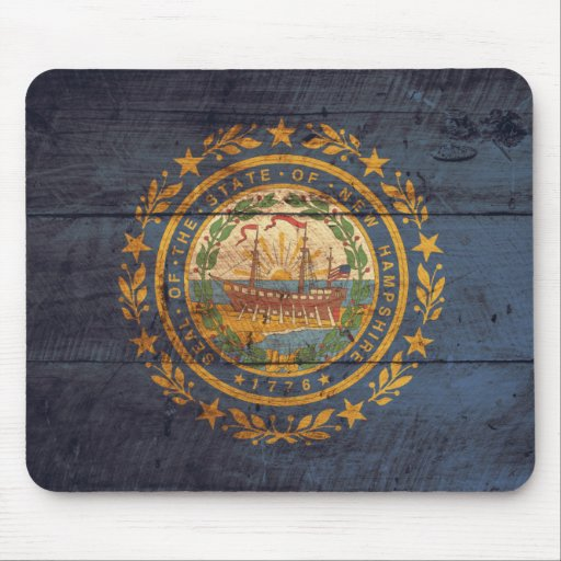 Old Wooden New Hampshire Flag; Mouse Pad