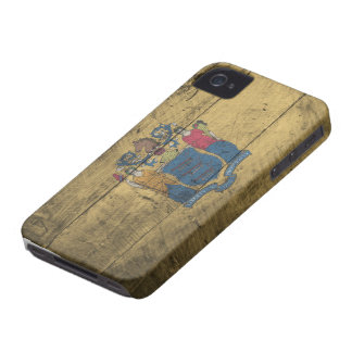 Old Wooden New Jersey Flag; iPhone 4 Case-Mate Cases