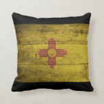 Old Wooden New Mexico Flag; Pillow