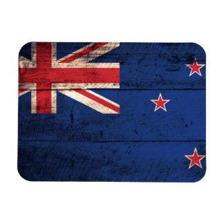 Old Wooden New Zealand Flag Rectangular Photo Magnet
