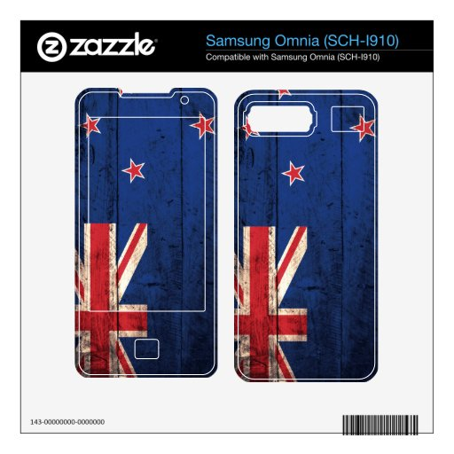 Old Wooden New Zealand Flag; Decals For Samsung Omnia