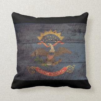 Old Wooden North Dakota Flag; Throw Pillow