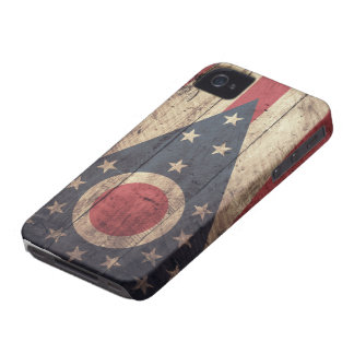 Old Wooden Ohio Flag; iPhone 4 Case-Mate Cases