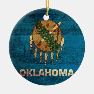 Old Wooden Oklahoma Flag; Ceramic Ornament