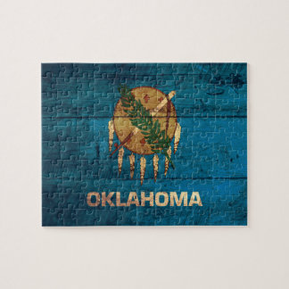 Old Wooden Oklahoma Flag; Jigsaw Puzzle