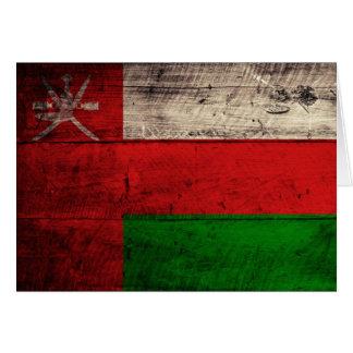 Old Wooden Oman Flag Card