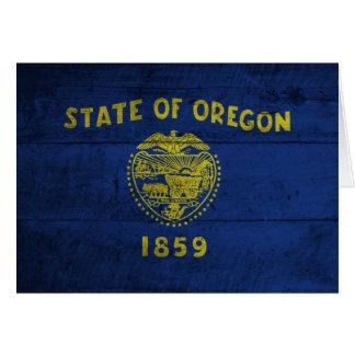 Old Wooden Oregon Flag; Card