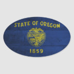 Old Wooden Oregon Flag; Oval Stickers