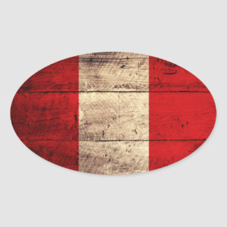 Old Wooden Peru Flag Oval Stickers