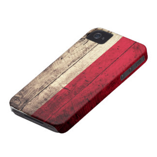 Old Wooden Poland Flag Case-Mate iPhone 4 Cases
