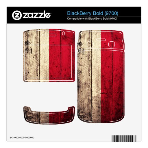 Old Wooden Poland Flag; Decal For BlackBerry Bold