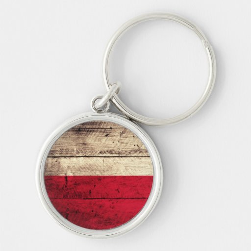 Old Wooden Poland Flag Silver-Colored Round Keychain