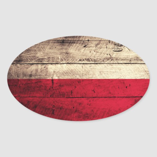 Old Wooden Poland Flag Oval Sticker