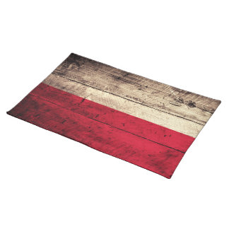 Old Wooden Poland Flag Cloth Placemat