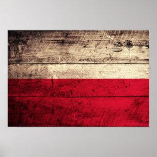 Old Wooden Poland Flag Poster