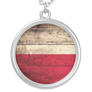 Old Wooden Poland Flag Silver Plated Necklace