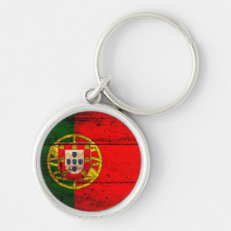 Old Wooden Portugal Flag Keychain