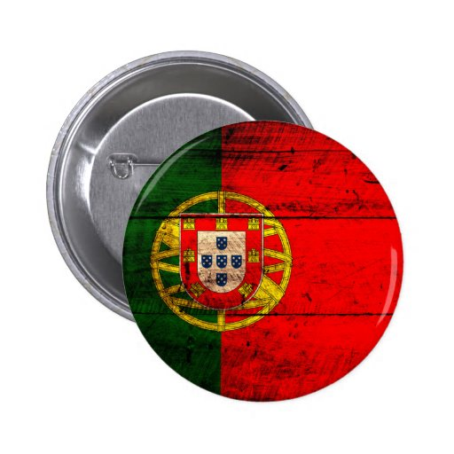 Old Wooden Portugal Flag Pinback Buttons