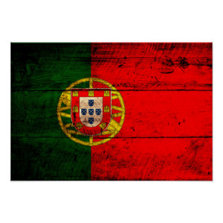 Old Wooden Portugal Flag Poster