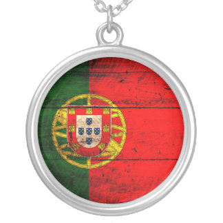 Old Wooden Portugal Flag Round Pendant Necklace