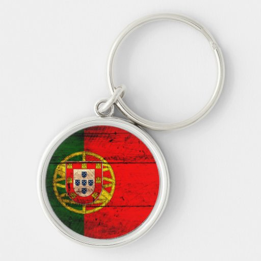 Old Wooden Portugal Flag Silver-Colored Round Keychain