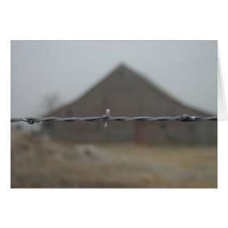 Old wooden red barn frosted barbwire card