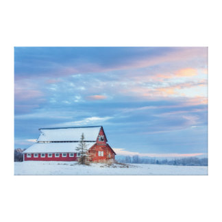 Old Wooden Red Barn In The Lower Valley Canvas Prints