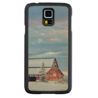 Old Wooden Red Barn In The Lower Valley Carved Maple Galaxy S5 Slim Case