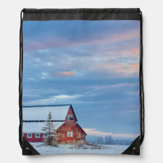 Old Wooden Red Barn In The Lower Valley Drawstring Backpack