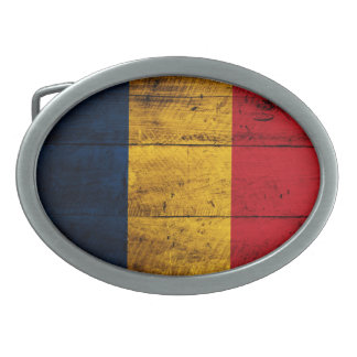 Old Wooden Romania Flag Oval Belt Buckle