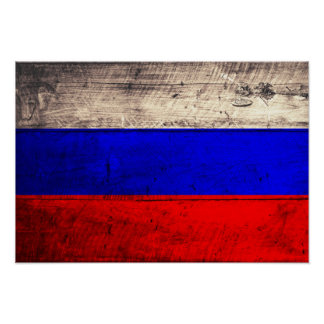 Old Wooden Russian Flag Poster