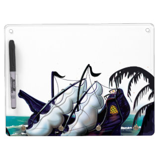 Old Wooden Sail Ship in Dock Dry Erase Board With Keychain Holder