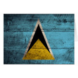 Old Wooden Saint Lucia Flag Card