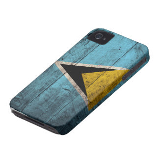 Old Wooden Saint Lucia Flag iPhone 4 Case