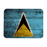 Old Wooden Saint Lucia Flag Magnets