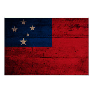 Old Wooden Samoa Flag Poster