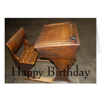 Old  Wooden School Desk and Chair Card