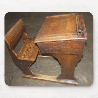 Old  Wooden School Desk and Chair Mouse Pad