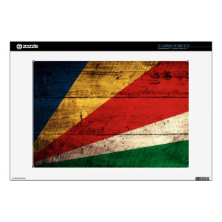 Old Wooden Seychelles Flag Decals For Laptops
