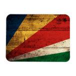 Old Wooden Seychelles Flag Rectangular Magnet