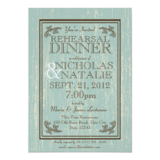 Old Wooden Sign 5 x 7 Rehearsal Dinner 5x7 Paper Invitation Card